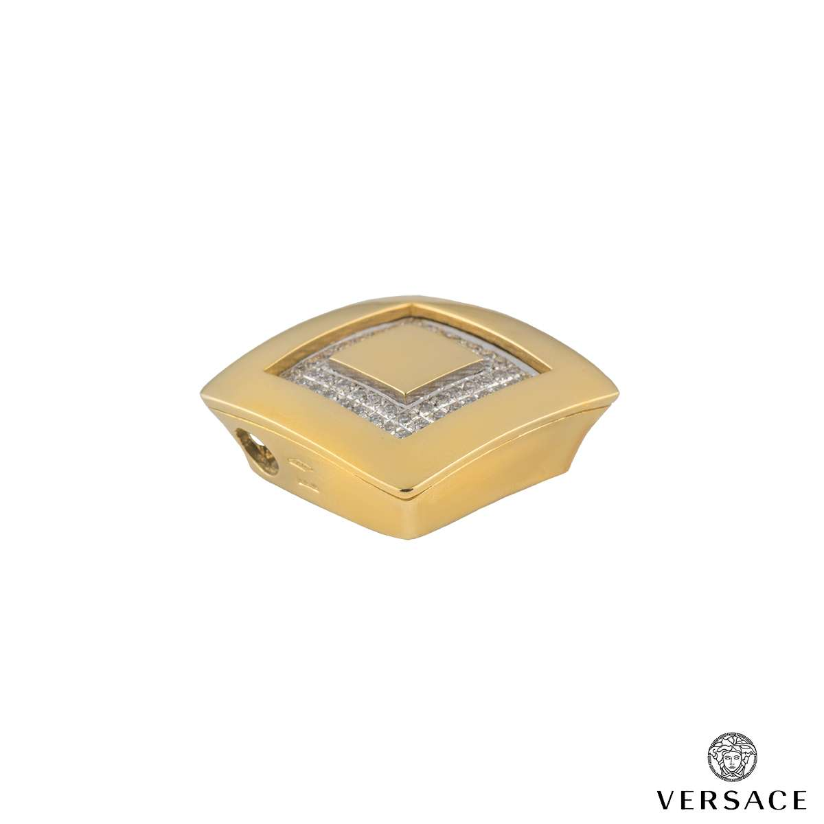 Versace 18k Yellow Gold Matching Pendant and Earrings Suite